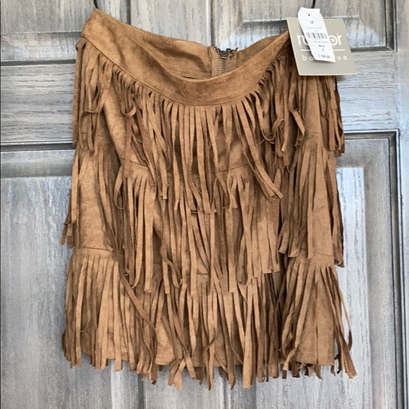 Dresses & Skirts - New with Tags Faux Suede Fringe Skirt